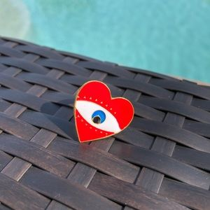 Red Heart & Eye Adjustable Ring NWT